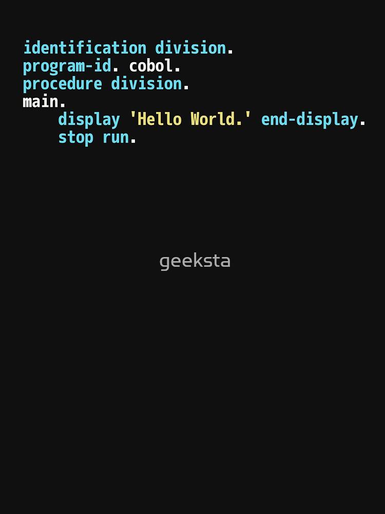 Hello World COBOL Code - Dark Syntax Scheme Coder Design by geeksta