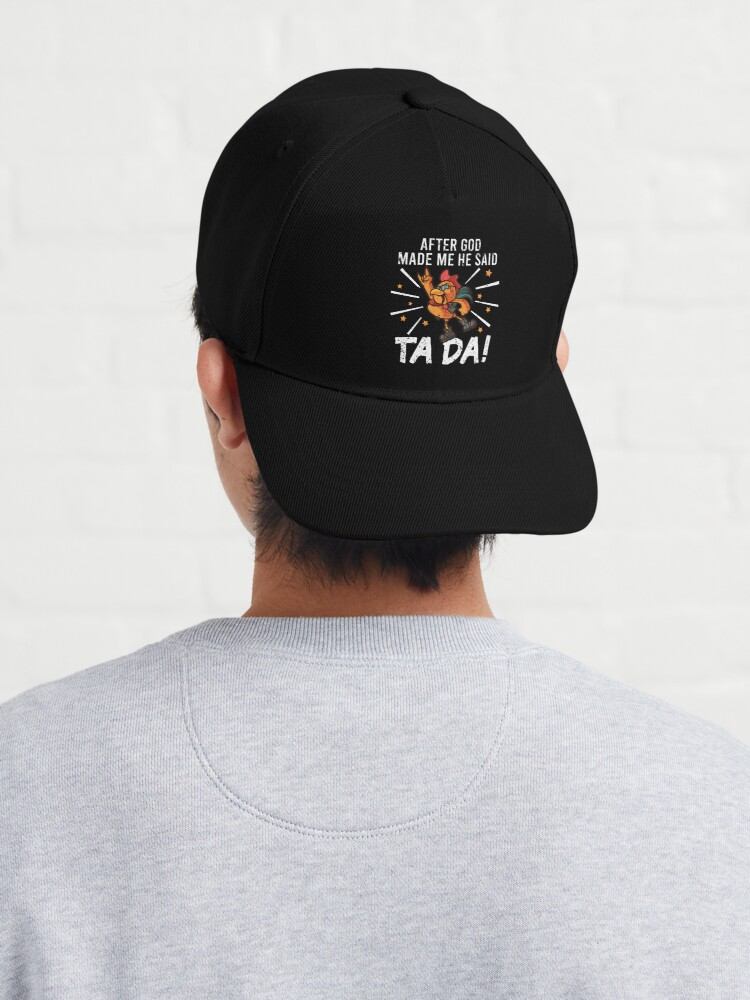 Alternate view of TaDa Funny Chicken Rock with Distressed TaDa Chicken Cap