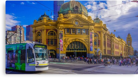 The Cyclist at Flinders Street Station by sjphotocomau