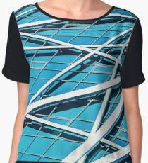 Exterior of Glass Business Building on a Clear Sky Background Women's Chiffon Top