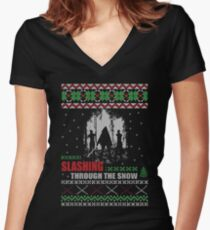 Christmas - Michonne Ugly Christmas Women's Fitted V-Neck T-Shirt