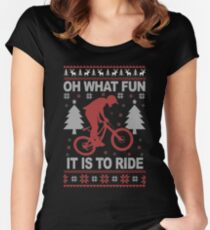 Christmas - Mountain Bike Ugly Christmas Women's Fitted Scoop T-Shirt