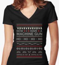Christmas - Now I Have A Machine Gun Ho Ho Ho Women's Fitted V-Neck T-Shirt