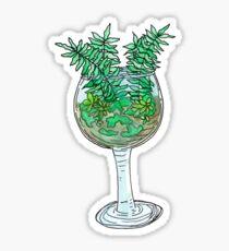 wine glass terrarium Sticker