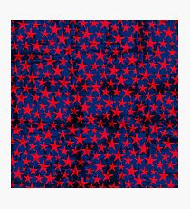 Red stars on grunge textured blue background Photographic Print