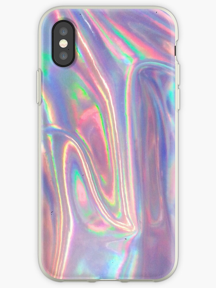 newest a4a00 a6bea 'Holographic waves in purple' iPhone Case by vaporspearl
