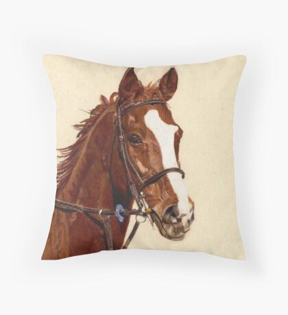 Proud - A thoroughbred standing proud Throw Pillow