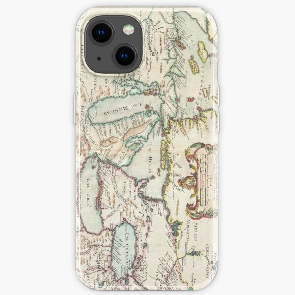 Vintage Map of The Great Lakes (1755) iPhone Soft Case