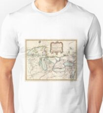 Vintage Map of The Great Lakes (1755) Unisex T-Shirt