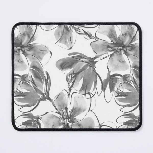 Magnificent Magnolias in Monochromatic Mixed Media Mouse Pad