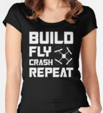 BUILD FLY CRASH REPEAT - QUADCOPTER T-SHIRT Women's Fitted Scoop T-Shirt