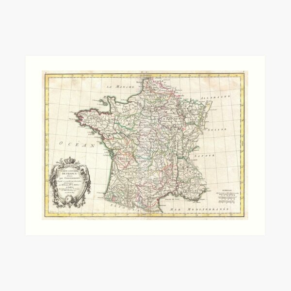 Vintage Map of France (1771)  Art Print