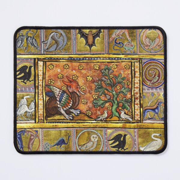 MEDIEVAL BESTIARY,RED DRAGON TREE LIFE AND BIRDS . FANTASTIC ANIMALS IN GOLD RED BLUE COLORS Mouse Pad