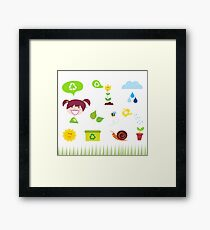 Agriculture, garden and nature icons isolated on white background Framed Print