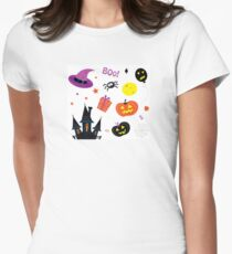Halloween icons set isolated on white / Halloween mix for kids Women's Fitted T-Shirt