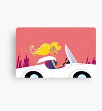 Cute vintage style girl driving a white luxurious convertible car Canvas Print
