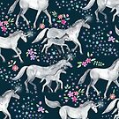 Unicorns and Stars on Dark Teal by micklyn
