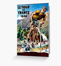 TOUR DE FRANCE; Vintage Bicycle Racing Advertising Print Greeting Card