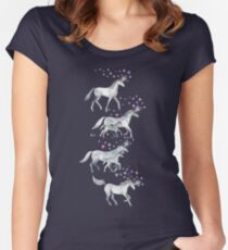 Unicorns and Stars on Dark Teal Women's Fitted Scoop T-Shirt