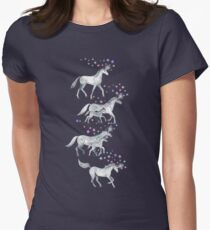 Unicorns and Stars on Dark Teal Womens Fitted T-Shirt