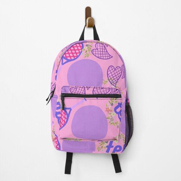 Girly Pink Love Polkadot Tennis Racquet Print Backpack
