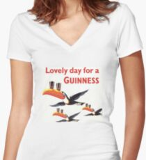 Vintage Guinness Beer Ad Toucans Women's Fitted V-Neck T-Shirt