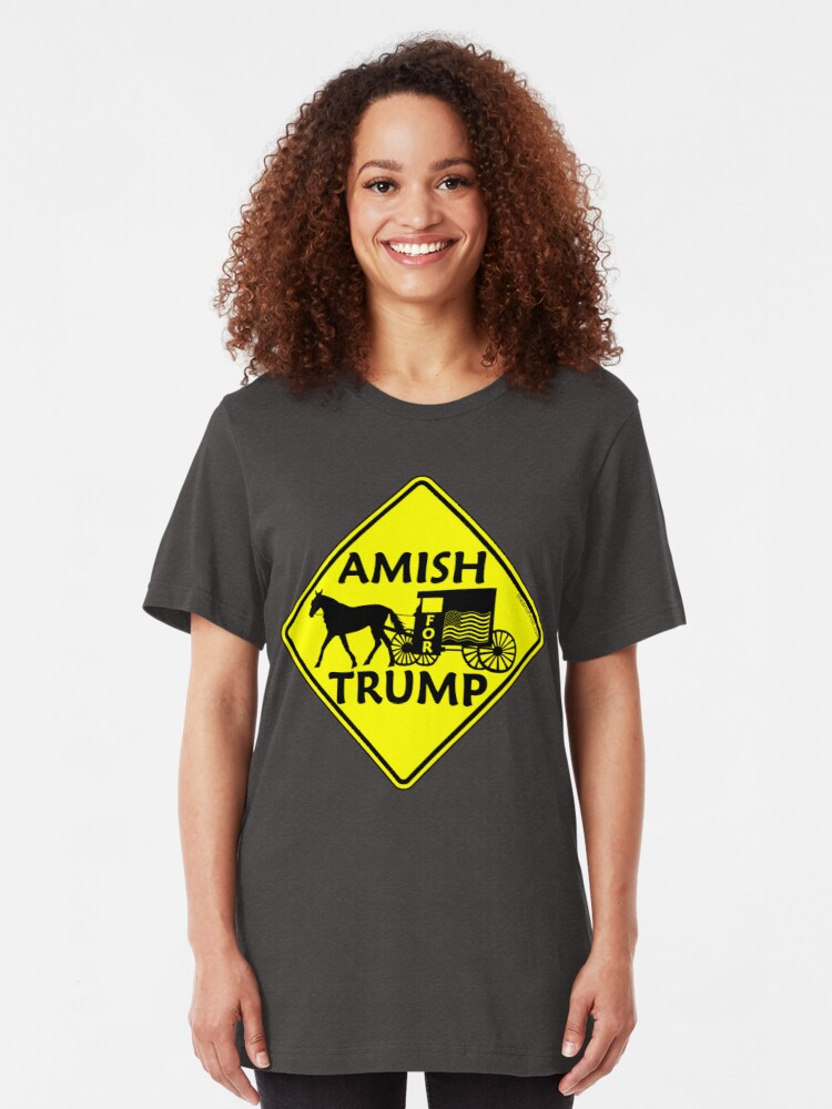 Alternate view of Amish For Trump Political Buggy Sign Slim Fit T-Shirt