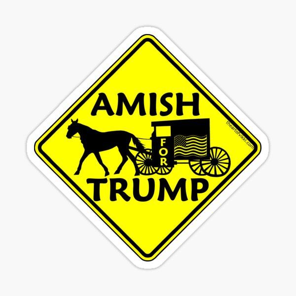 Amish para Trump cartel político Buggy Pegatina