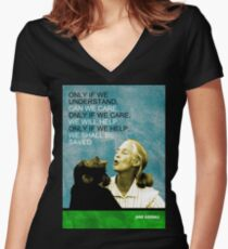 Jane Goodall Quote Women's Fitted V-Neck T-Shirt