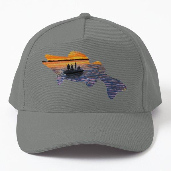 Walleye Silhouette - Lake Life - Blue Grey Baseball Cap