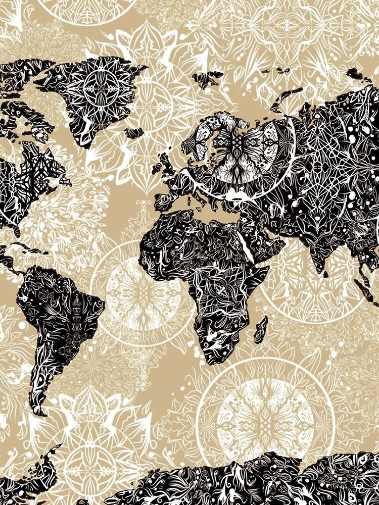 Weltkarte Mandala 3 von BekimART