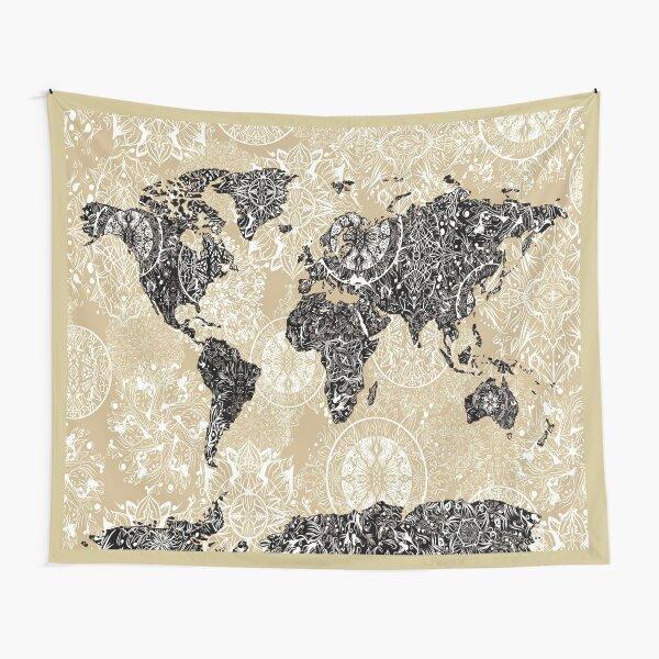 world map mandala 3 Tapestry