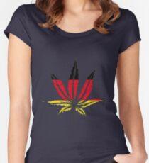 Cannabis (marijuana) leaf flat icon, Women's Fitted Scoop T-Shirt