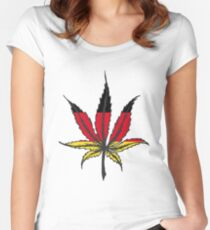 Cannabis (marijuana) leaf flat icon, Women's Fitted Scoop T-Shirt