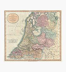 Vintage Map of The Netherlands (1799) Photographic Print