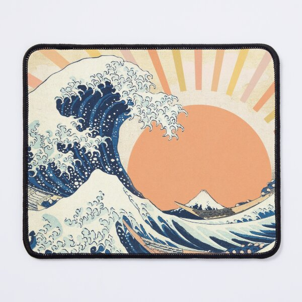 The Great Wave off Kanagawa Retro Vintage Sunset Mouse Pad