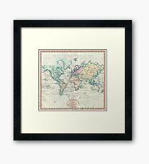 Vintage Map of The World (1801) Framed Print