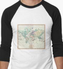 Vintage Map of The World (1801) Baseball ¾ Sleeve T-Shirt