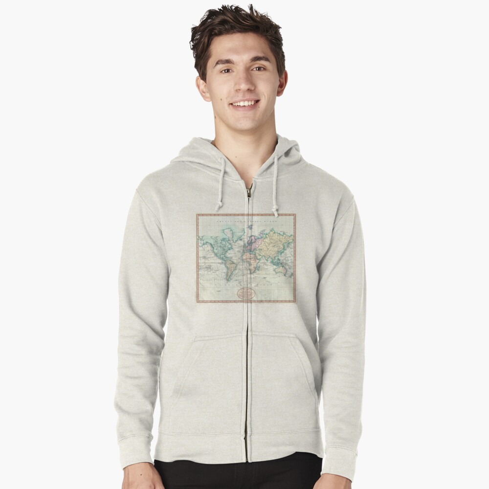 Vintage Map of The World (1801) Zipped Hoodie