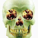 Skull with eyes of fire by Rostislav Bouda