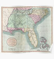 Vintage Map of The Southeastern U.S. (1806) Poster