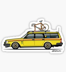 Yellow Volvo 245 Wagon With Roof Rack and Vintage Bicycle Sticker