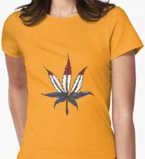 Cannabis (marijuana) leaf ,hand drawn Womens Fitted T-Shirt