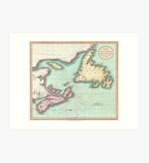 Vintage Map of Nova Scotia and Newfoundland (1807) Art Print