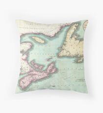 Vintage Map of Nova Scotia and Newfoundland (1807) Throw Pillow