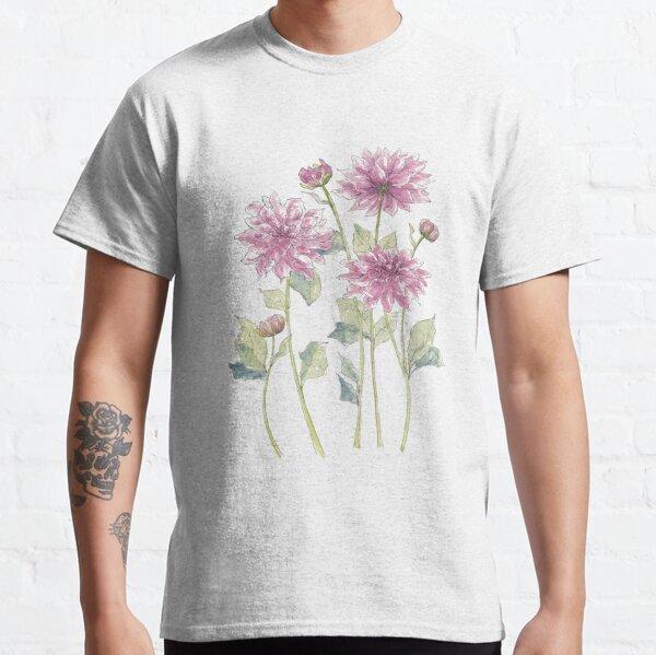 Magenta Dahlias Illustration Classic T-Shirt