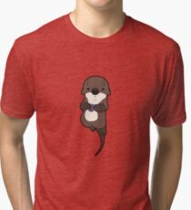 Cute otter holding a shell Tri-blend T-Shirt
