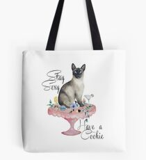 Siamese cat and cookies Tote Bag