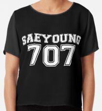 707 Jersey Style (White/Black) Chiffon Top