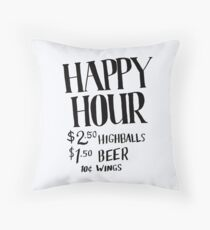 Happy Hour Drink Special Throw Pillow